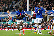 Everton's  Yannick Bolasie (14) and Romelu Lukaku (10) celebrate Romelu Lukakus (10) goal 1-0 during the Premier League match between Everton and West Ham United at Goodison Park, Liverpool, England on 30 October 2016. Photo by Craig Galloway.