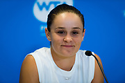 Ashleigh Barty of Australia talks to the media after winning her quarter-final match at the 2020 Adelaide International WTA Premier tennis tournament against Marketa Vondrousova of the Czech Republic. Photo Rob Prange / Spain ProSportsImages / DPPI / ProSportsImages / DPPI