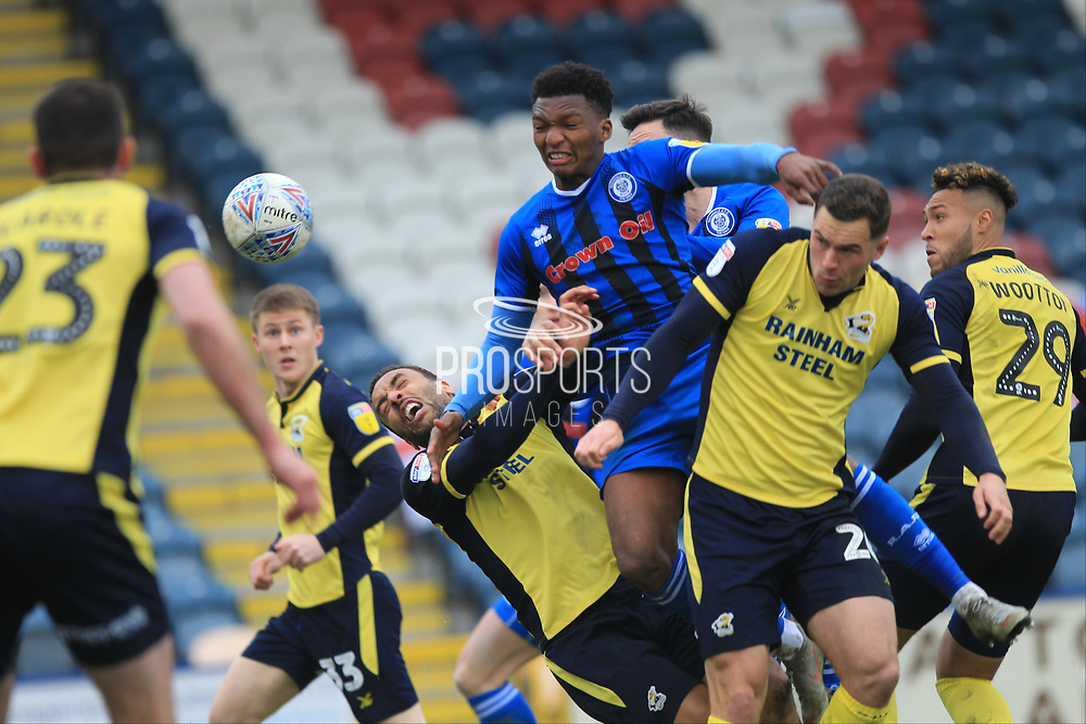 Kgosi Nthle wins a header from a corner during the EFL Sky Bet League 1 match between Rochdale and Scunthorpe United at Spotland, Rochdale, England on 23 March 2019.