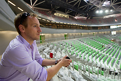 Tilen Trotovsek of Sport TV in a basketball arena. A week before the opening of a new football stadium and sports arena in Stozice, on August 4, 2010, in Stozice, Ljubljana, Slovenia.  (Photo by Vid Ponikvar / Sportida)
