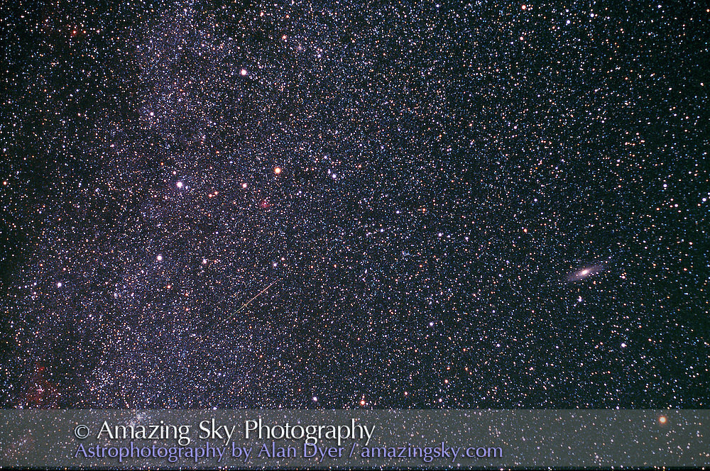 Cassiopeia to Andromeda with M31 and Double Cluster<br /> 50mm lens at f/2.8 (some corner aberrations)<br /> Fuji Provia 400F slide film<br /> About 8 minute exposure, on AP600 mount.<br /> Taken on Aug 12 to try to get Perseids (just one little one under Cass)<br /> But the sky was good for deep-sky shooting.