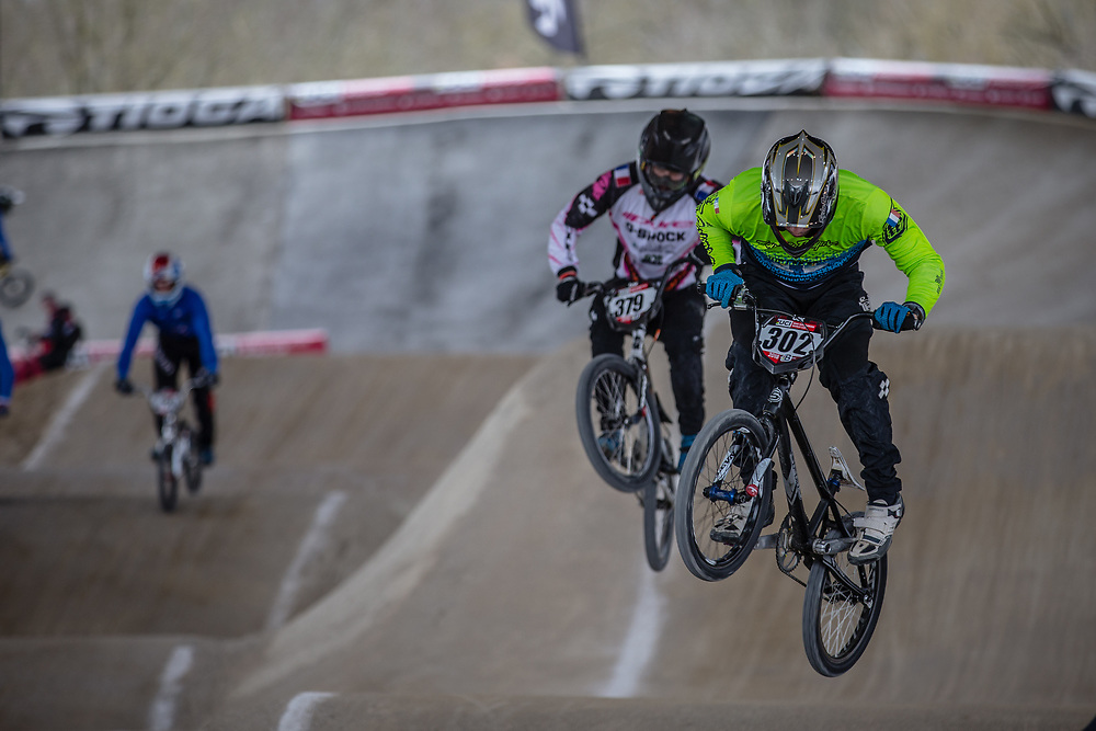 #302 (HUBERT Quentin) FRA at Round 2 of the 2018 UCI BMX Superscross World Cup in Saint-Quentin-En-Yvelines, France.