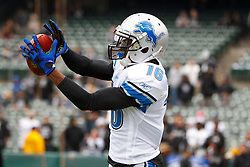 Dec 18, 2011; Oakland, CA, USA; Detroit Lions wide receiver Titus Young (16) warms up before the game against the Oakland Raiders at O.co Coliseum. Detroit defeated Oakland 28-27. Mandatory Credit: Jason O. Watson-US PRESSWIRE