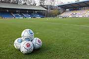 Training balls ready for the warm up before the Vanarama National League match between FC Halifax Town and Dover Athletic at the Shay, Halifax, United Kingdom on 17 November 2018.