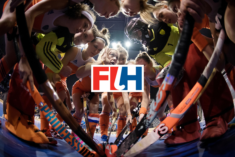 BERLIN - Indoor Hockey World Cup<br /> Women: Netherlands - Switzerland<br /> foto: Dutch huddle with Mila Muyselaar.<br /> WORLDSPORTPICS COPYRIGHT FRANK UIJLENBROEK