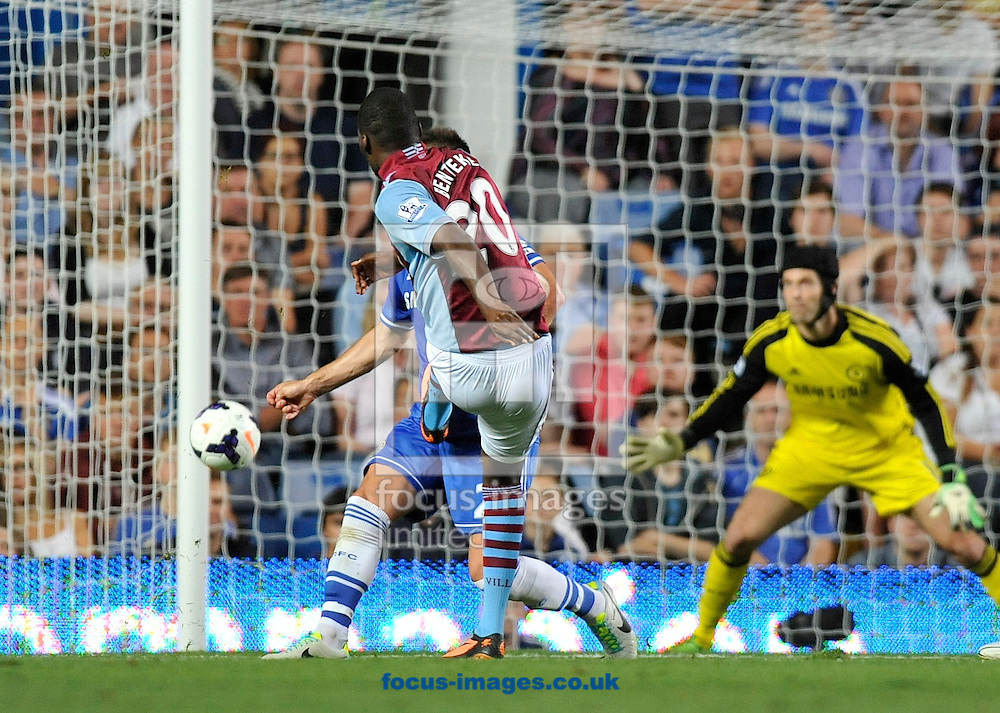 Picture by Alan Stanford/Focus Images Ltd +44 7915 056117<br /> 21/08/2013<br /> Christian Benteke of Aston Villa scores to make it 1-1 during the Barclays Premier League match at Stamford Bridge, London.