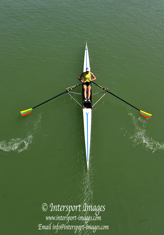 Plovdiv BULGARIA.  LTU JW1X.  Sonata PETRIKAITE, racing at the 1000m mark - from the bridge during the 2012 FISA Junior and Non Olympic . Rowing Championships, Plovdiv Rowing Course.    11:03:14  Friday  17/08/2012  [Mandatory Credit Peter Spurrier: Intersport Images]..