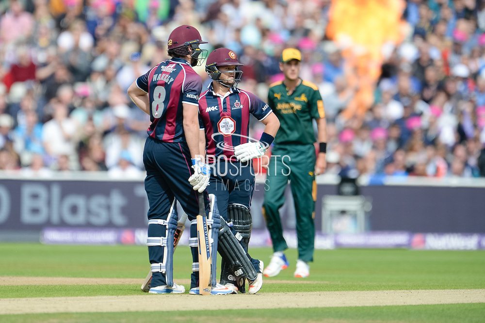 Ben Duckett and captain Alex Wakely of Northants Steelbacks make a hundred partnership during the NatWest T20 Blast Semi Final match between Nottinghamshire County Cricket Club and Northamptonshire County Cricket Club at Edgbaston, Birmingham, United Kingdom on 20 August 2016. Photo by David Vokes.
