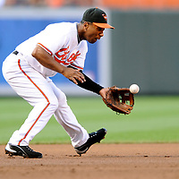 29 June 2009:  Baltimore Orioles third baseman Melvin Mora (6) fields a ground ball off the bat of Boston Red Sox third baseman Kevin Youkilis in the 1st inning at Camden Yards in Baltimore, MD.  The Red Sox defeated the Orioles 4-0.  ****For Editorial Use Only****