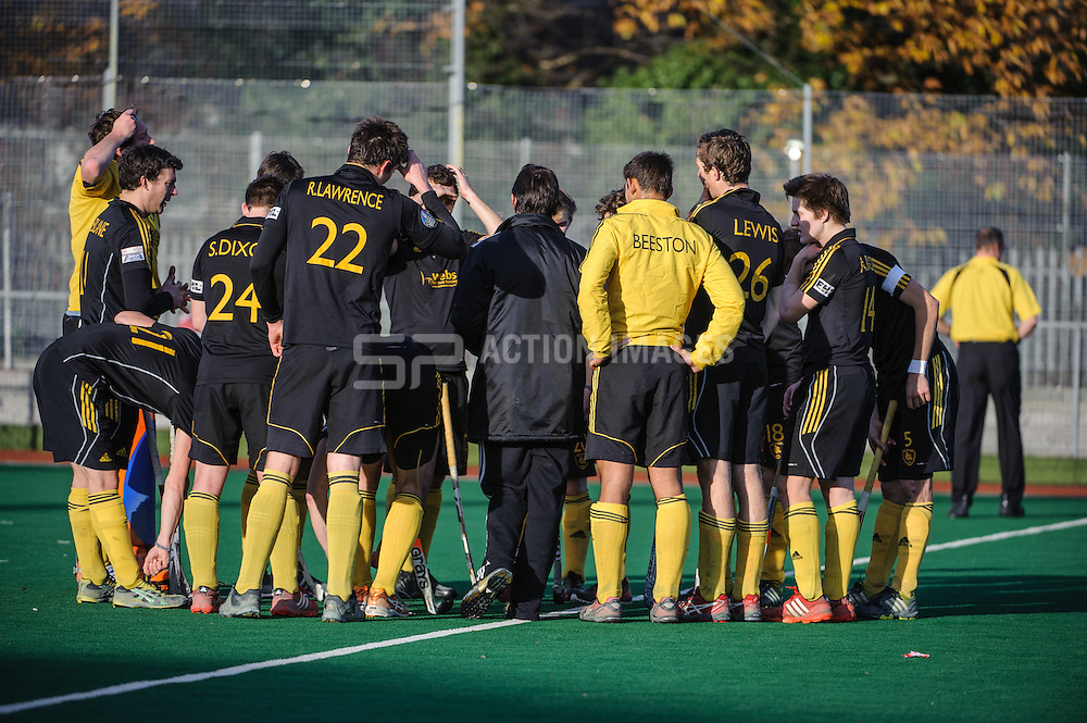 Beeston final team talk before their match against Holcombe in the England Hockey Men's Cup