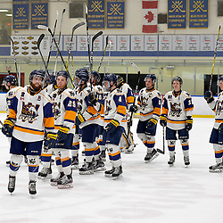 WHITBY, ON  - MAR 14,  2017: Ontario Junior Hockey League, playoff game between the Whitby Fury and Wellington Dukes.  Whitby Fury players thank the fans.<br /> (Photo by Shawn Muir / OJHL Images)