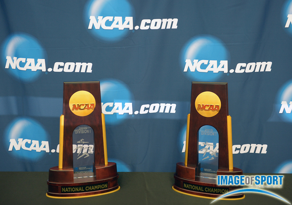 Mar 13, 2015; Fayetteville, AR, USA; NCAA team championship trophies at the 2015 NCAA Indoor Championships at Randal Tyson Center.
