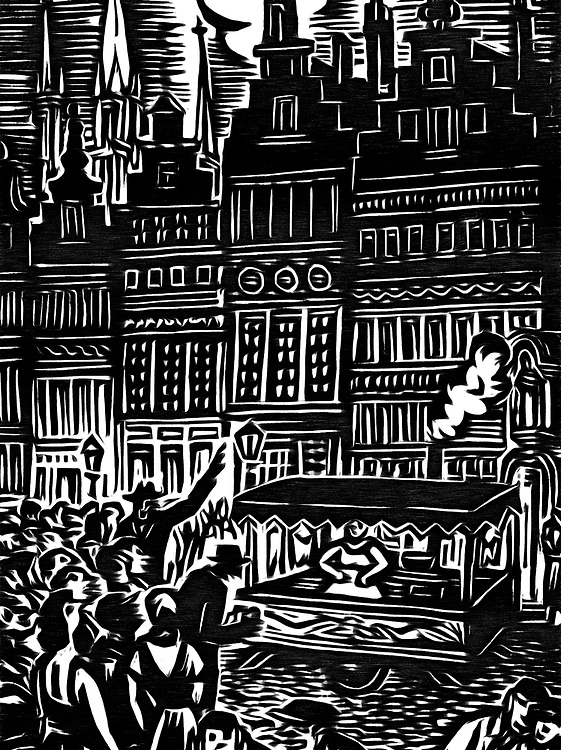 A black / white drawing of woman selling french frites in Brussels
