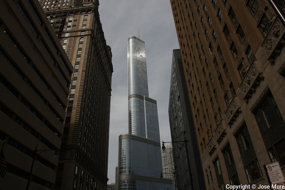 The Trump Tower is surrounded by older Chicago architecture April 4, 2010. Trump Tower sits by the Chicago River.<br /> Jose More