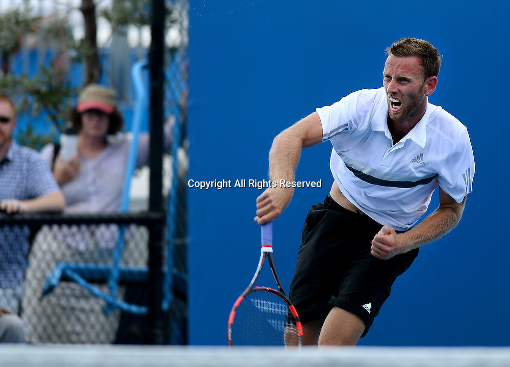 Michael Venua (NZ) during his 1st round doubles match with partner Oliver Marach (AUT)<br /> 2015 Australian Open Tennis / Day 4<br /> Grand Slam of Asia Pacific<br /> Melbourne Park, Vic Australia<br /> Thursday 22 January 2015<br /> &copy; Sport the library / Jeff Crow