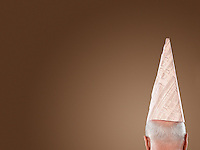 Man Wearing Dunce Hat high section back view