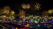 Fireworks erupt over the festival grounds during the opening night of EDC Las Vegas 2017 at the Las Vegas Motor Speedway on Saturday, June 17, 2017.   L.E. Baskow