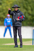 Umpire Kumar Dharmasena during the One Day International match between Scotland and Afghanistan at The Grange Cricket Club, Edinburgh, Scotland on 10 May 2019.