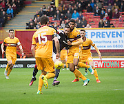 Marcus Haber scores Dundee's second goal - Motherwell v Dundee in the Ladbrokes Scottish Premiership at Fir Park, Motherwell.Photo: David Young<br /> <br />  - © David Young - www.davidyoungphoto.co.uk - email: davidyoungphoto@gmail.com