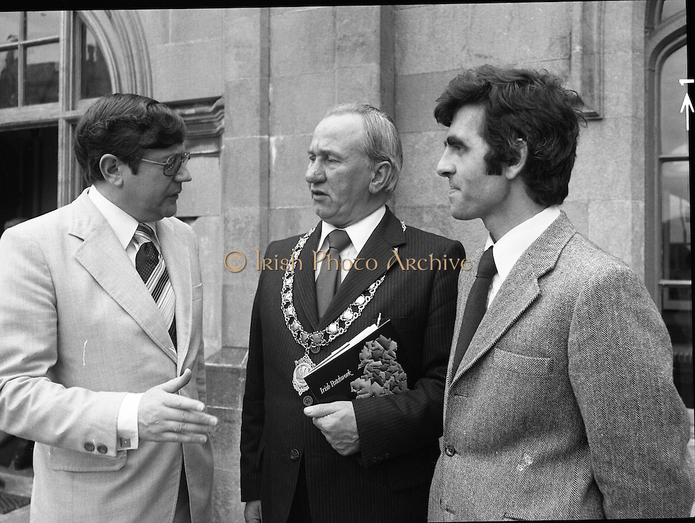 09/08/1979.08/09/1979.9th August 1979.Opening of Irish Patchwork exhibition and Presentation of the Young Designer Awards at Kilkenny Castle. L-R Mr Raphael Burke, T.D., Minister of State at the Department of Industry, Commerce and Energy, Clr, Thomas Martin, Mayor of Kilkenny, and Mr Gerald Tyler, Co-ordinator of the Young Designer Awards Competition.