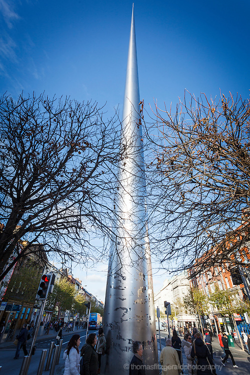 2012: Dublin, Ireland. A wide angle view of the Spire on Dublin's O'Connell Street