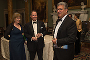 HANNAH ROTHSCHILD,; VISCOUNT LINLEY; ADRIAN SASSOON,  Professor Mikhail Piotrovsky Director of the State Hermitage Museum, St. Petersburg and <br /> Inna Bazhenova Founder of In Artibus and the new owner of the Art Newspaper worldwide<br /> host THE HERMITAGE FOUNDATION GALA BANQUET<br /> GALA DINNER <br /> Spencer House, St. James's Place, London<br /> 15 April 2015