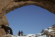 Hikers, Hiking, walking, Delicate Arch, Delicate Arch Trail, Arch, Arches, Arches National Park, Utah