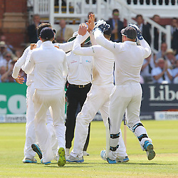 England's Moeen Ali celebrates the wicket of India's Ravindra Jadeja for 3 during the first day of the Investec 2nd Test match between England and India at Lords, London, 17th July 2014 © Phil Duncan | SportPix.org.uk