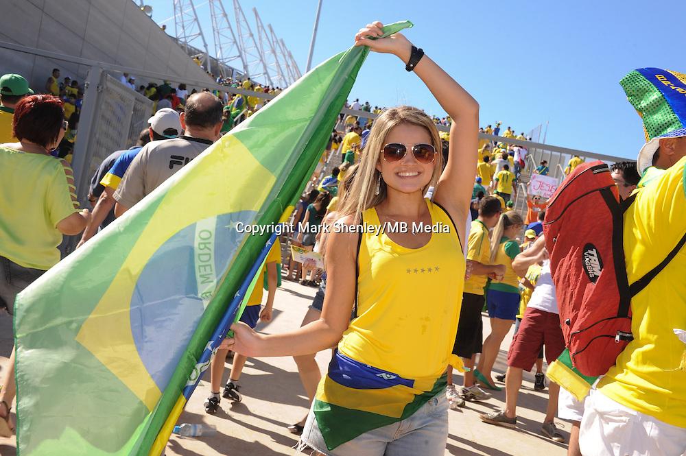 A local Brazilian female fan outside the stadium. Brazil v Mexico. FIFA Confederations Cup, Group match, Castelão Stadium, Fortaleza, Brazil 19th June 2013.