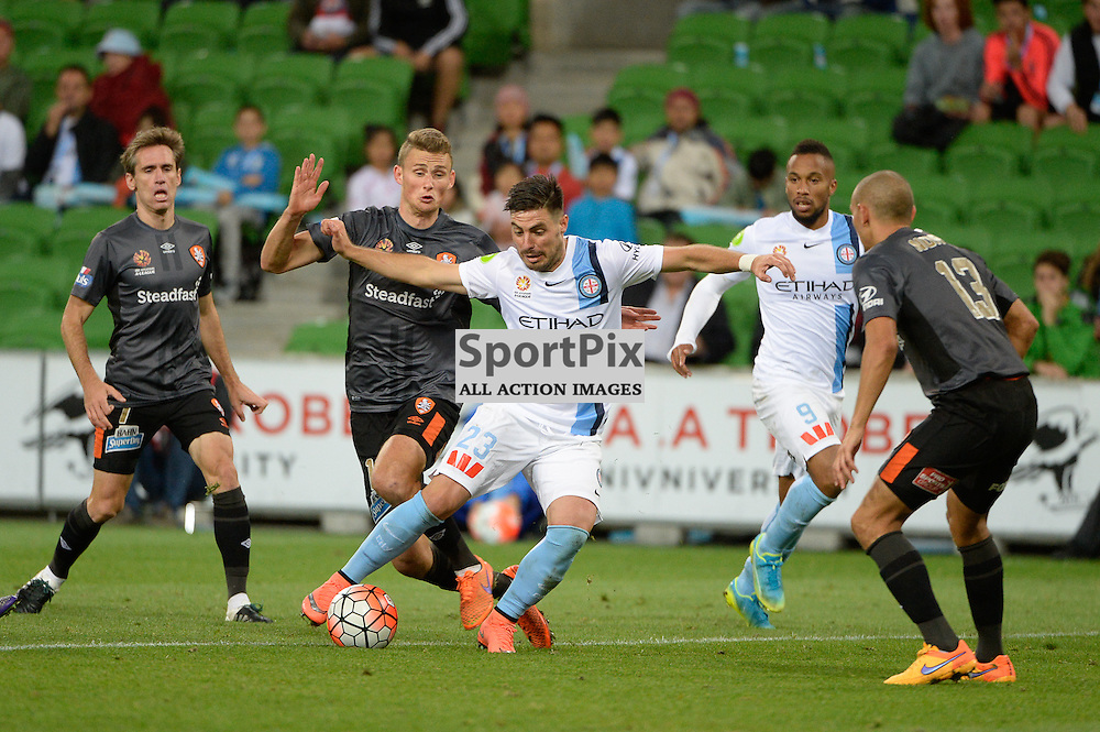 Bruno Fornaroli of Melbourne City, Jade North of Brisbane Roar - Hyundai A-League, March 18th 2016, ROUND 24 - Melbourne City FC v Brisbane Roar FC in a 3:1 win to City after a slow first half at Aami Park, Melbourne Australia. © Mark Avellino | SportPix.org.uk