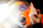 A Clemson fan gets excited for the start of the National Championship game at Raymond James Stadium in Tampa, Monday, January 9, 2017.