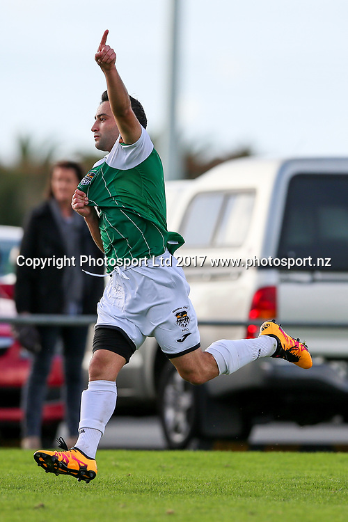 Manukau City's Erber Chavarria celebrates scoring. ISPS Handa Chatham Cup Round 2, Waitakere City FC v Manukau City AFC, Fred Taylor Park, Whenuapai, Auckland, Monday 5th June 2017. Copyright Photo: David Joseph  / www.photosport.nz