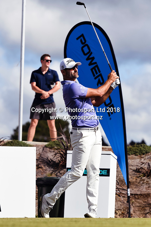 Michael Hendry (NZL) tees off on the 1st hole.<br /> NZ Rebel Sports Masters, Wainui Golf Club, Wainui, Auckland, New Zealand. 14 January 2018. &copy; Copyright Image: Marc Shannon / www.photosport.nz.