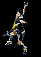 one caucasian handball player young man isolated on black background with speed light painting effect motion blur