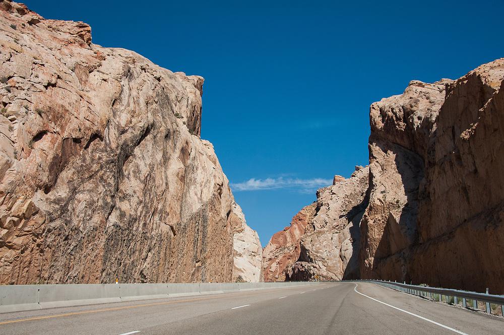 Interstate 70 going through Black Dragon Canyon in Utah