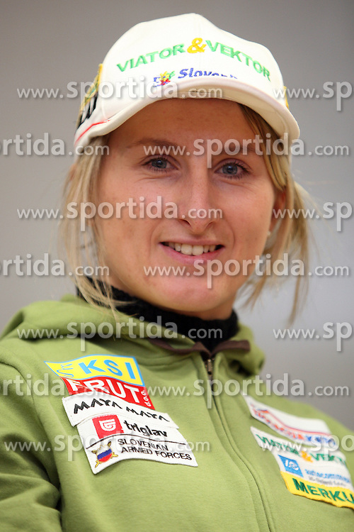 Tadeja Brankovic Likozar at the press conference of Slovenian biathlon team before the World Chamionship in Sweden, ÷stersund, where she can not go becouse of her back injury, in Ljubljana on February 5, 2008. (Photo by Vid Ponikvar / Sportal Images).