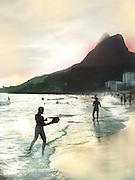 Paddle ball, or frescobol, is a very popular beach sport at Ipanema Beach, Rio de Janiero, Brazil.