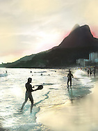 Paddle ball, or frescobol, is a very popular beach sport at Ipanema Beach, Rio de Janiero, Brazil.
