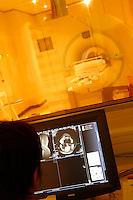 Paris, France.....MRI (IRM) Magnetic Renonance scanner..Hospital St. Louis, a Public Assistance hospital in Paris.