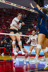 BLOOMINGTON, IL - September 15: Monica Miller during a college Women's volleyball match between the ISU Redbirds and the Marquette Golden Eagles on September 15 2019 at Illinois State University in Normal, IL. (Photo by Alan Look)
