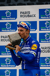 Podium with 1st Philippe Gilbert (BEL) of Deceuninck - Quick Step (BEL,WT,Specialized) and 2nd Nils Politt (GER) of Team Katusha - Alpecin (SUI,WT,Canyon) during the 2019 Paris-Roubaix (1.UWT) with 257 km racing from Compiègne to Roubaix, France. 14th April 2019. Picture: Thomas van Bracht | Peloton Photos<br /> <br /> All photos usage must carry mandatory copyright credit (Peloton Photos | Thomas van Bracht)