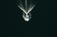 Aerial view of motor boat on the water