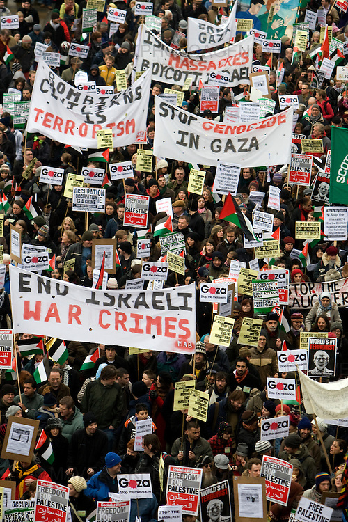 Protestors take to the streets of Edinburgh to demonstrate over the conflict in Gaza.