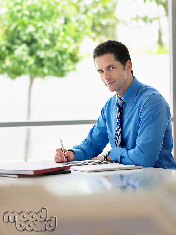 Businessman sitting at office table writing portrait