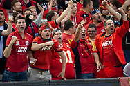 United fans cheer on at the Hyundai A-League Round 7 soccer match between Melbourne Victory v Adelaide United at Marvel Stadium in Melbourne, Australia.
