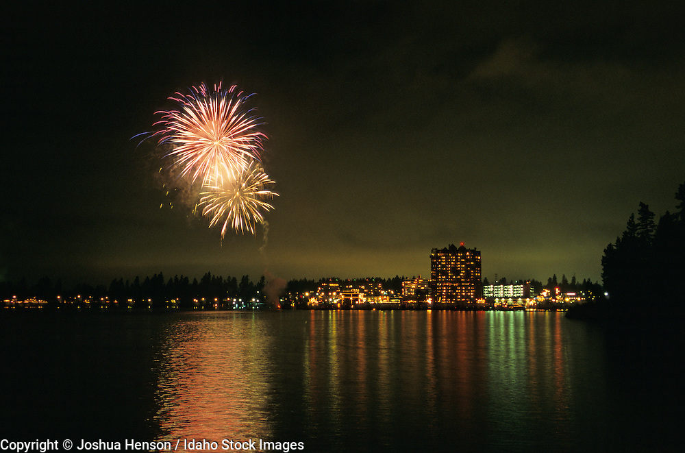 IDAHO. Lake Coeur d'Alene. Fireworks next to The Coeur d'Alene Resort during the annual Holiday Light Show.