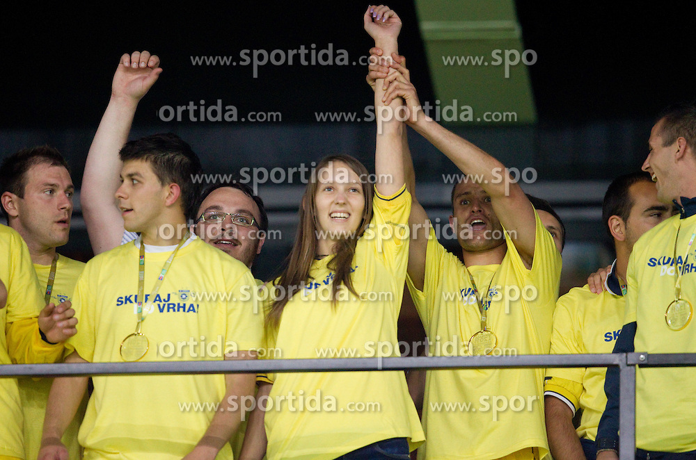 Maja Zugec, 12th player of NK Domzale and Juninho celebrate after the football match between NK Domzale and NK Maribor in final match of Hervis Cup, on May 25, 2011 in SRC Stozice, Ljubljana, Slovenia. Domzale defeated Maribor and became Slovenian Cup Champion 2011. (Photo By Vid Ponikvar / Sportida.com)