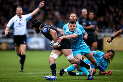 Duncan Weir of Worcester Warriors tackles Gary Graham of Newcastle Falcons - Mandatory by-line: Robbie Stephenson/JMP - 03/03/2019 - RUGBY - Kingston Park - Newcastle upon Tyne, England - Newcastle Falcons v Worcester Warriors - Gallagher Premiership Rugby