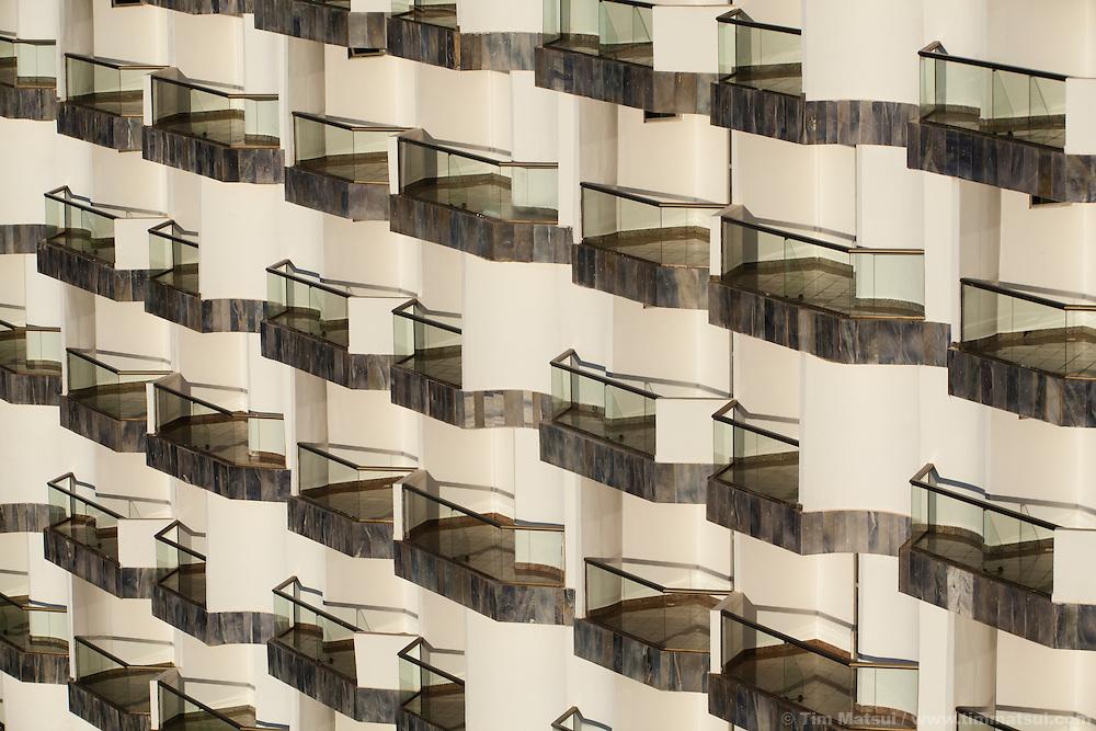 Uniform rows of balconies on a hotel in Brasilia, Brazil.
