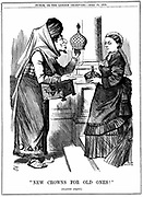 Benjamin Disraeli offering the crown of India to Queen Victoria. She was proclaimed Empress of India on l May 1876. John Tenniel cartoon from 'Punch' London 15 April 1876